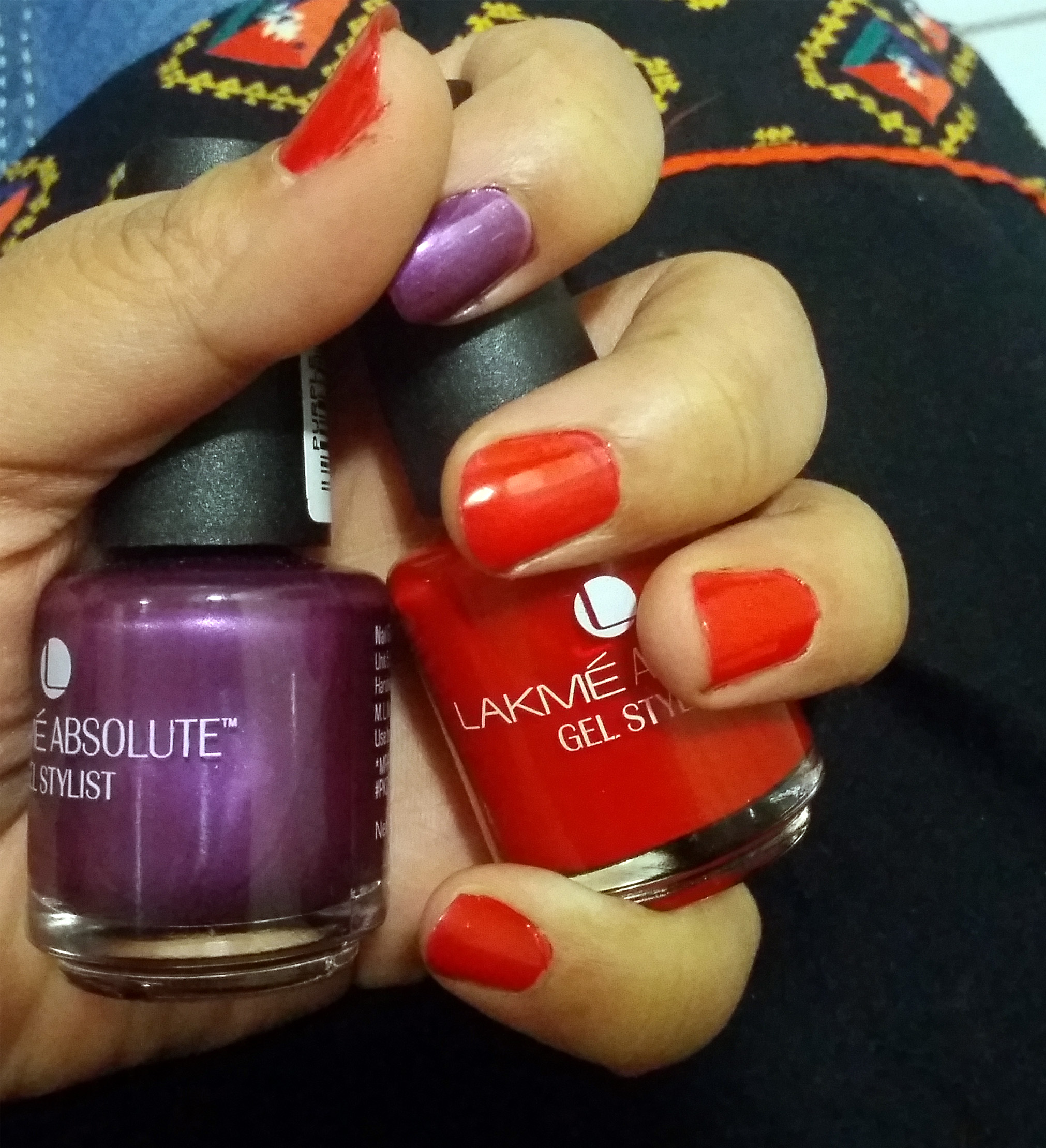 Lakme Absolute Gel Stylist Nail Polish – Red Lush & Purple Orchid ...