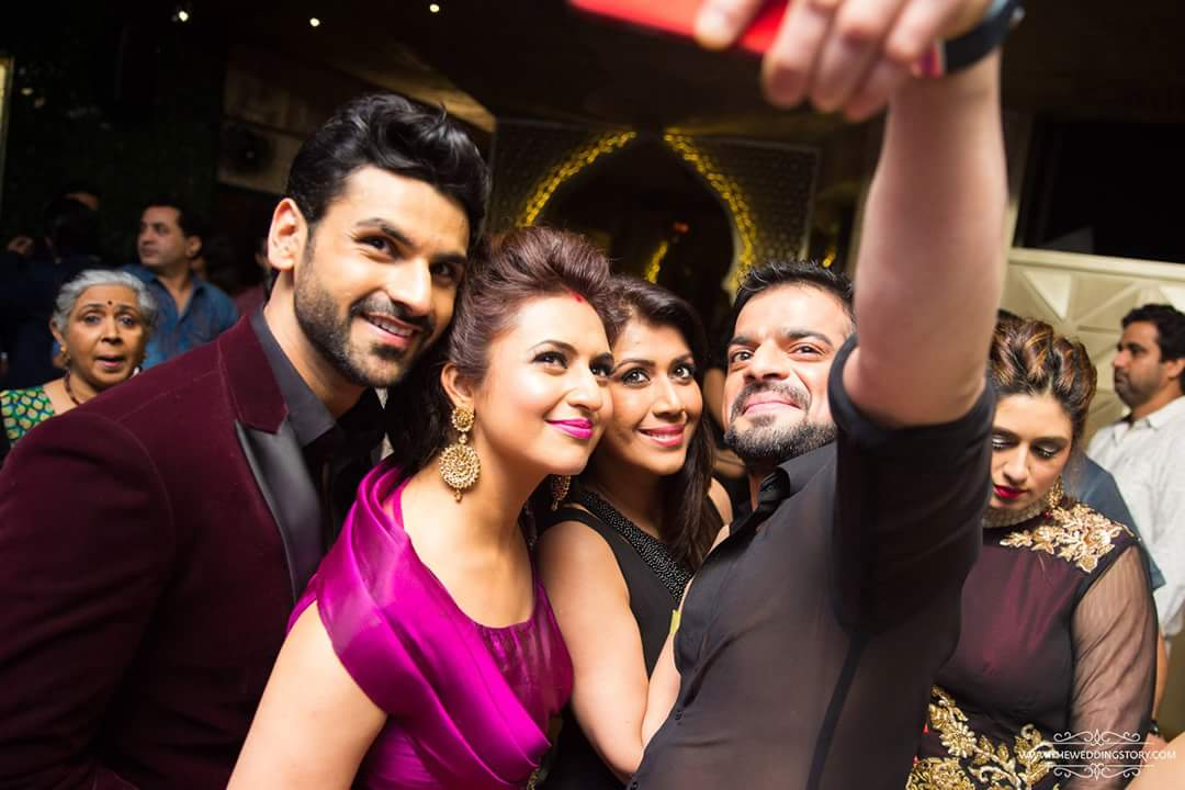 Reception Photos of divyanka with karan patel and his wife