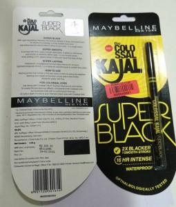 Maybelline Colossal Super Black Kajal - With Back Packaging