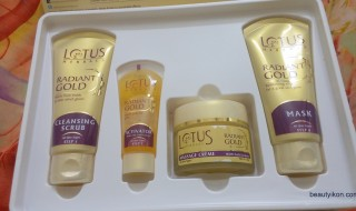4 Products in Lotus Herbals Radiant Gold Cellular Glow Facial Kit