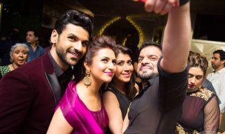 Reception Photos of divyanka with karan patel and his wife
